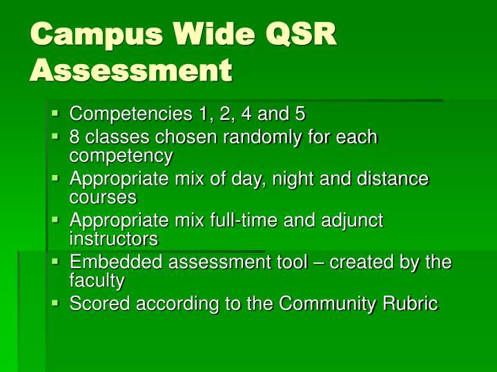 Campus Wide QSR Assessment