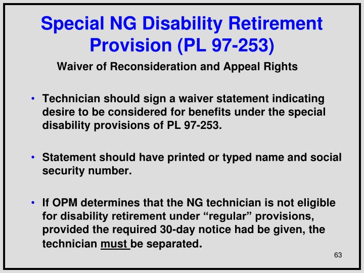 Special NG Disability Retirement Provision (PL 97-253)