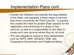 implementation plans cont