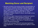 matching donor and recipient