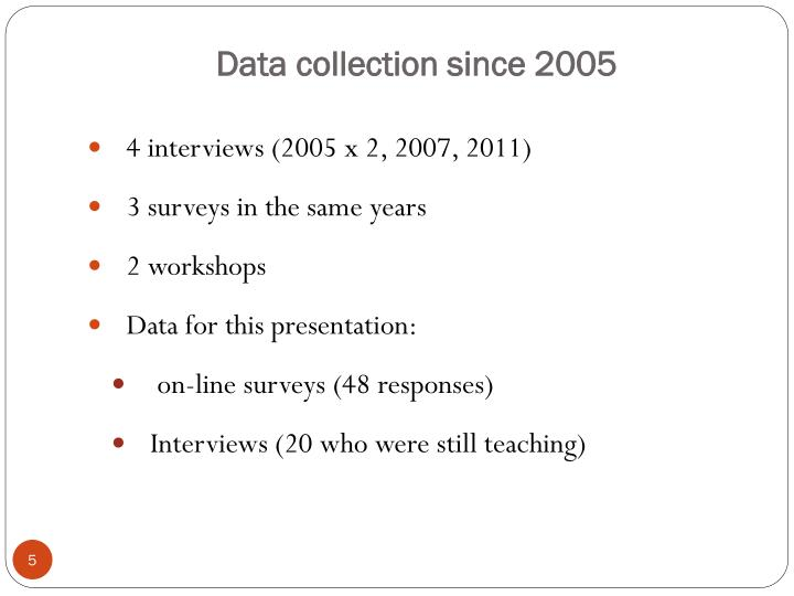 Data collection since 2005