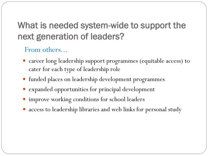 What is needed system-wide to support the next generation of leaders?