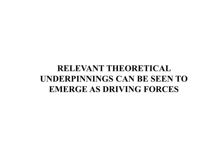 RELEVANT THEORETICAL UNDERPINNINGS CAN BE SEEN TO EMERGE AS DRIVING FORCES