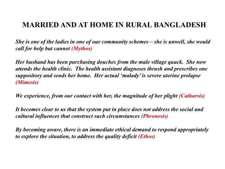 MARRIED AND AT HOME IN RURAL BANGLADESH