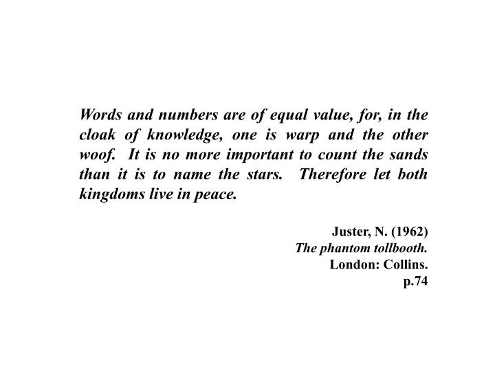 Words and numbers are of equal value, for, in the cloak of knowledge, one is warp and the other woof...