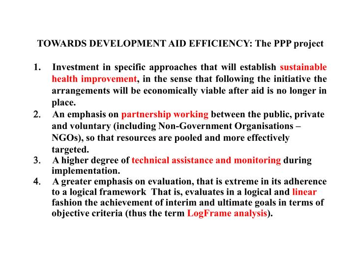 TOWARDS DEVELOPMENT AID EFFICIENCY: The PPP project