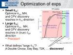 optimization of exps