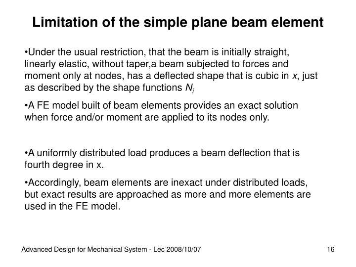 Limitation of the simple plane beam element