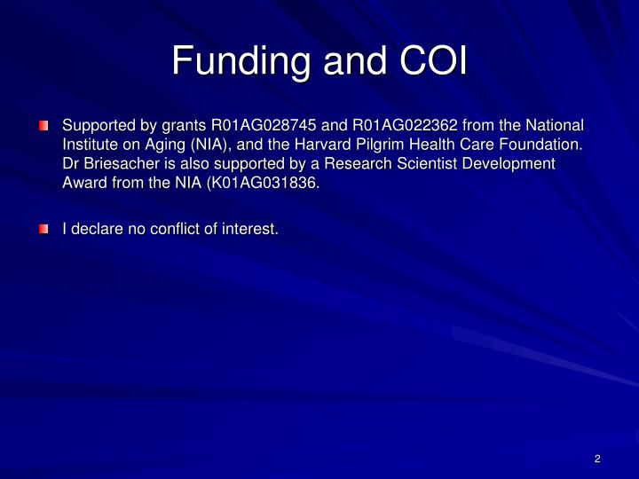 Funding and coi