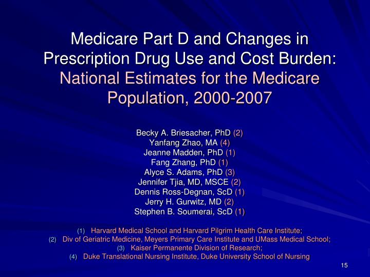Medicare Part D and Changes in Prescription Drug Use and Cost Burden: