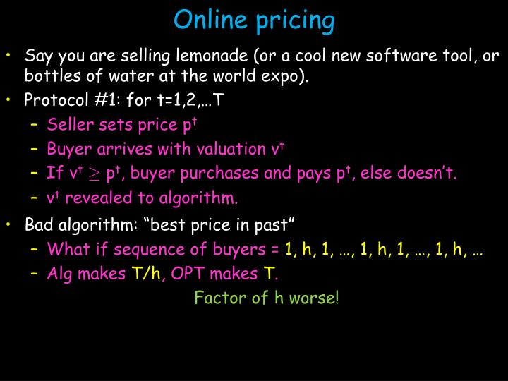 Online pricing