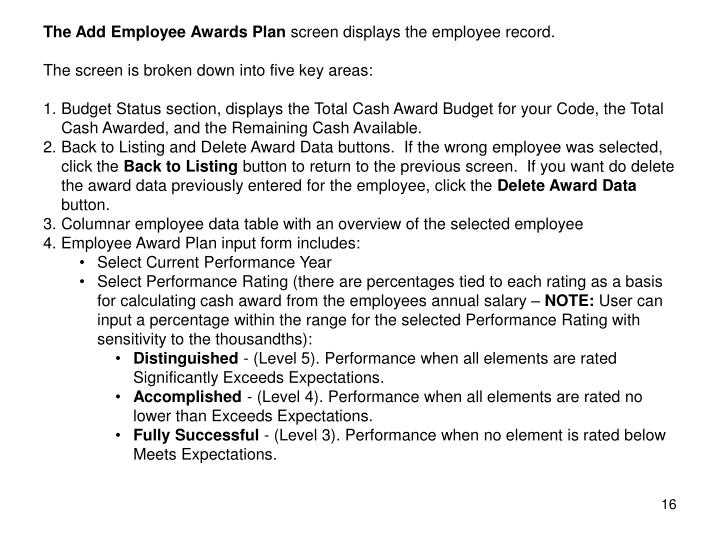 The Add Employee Awards Plan