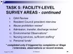 task 5 facility level survey areas continued