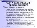 task 7 care areas and critical elements
