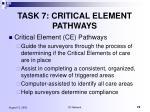 task 7 critical element pathways