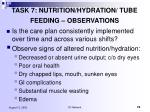 task 7 nutrition hydration tube feeding observations