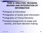 task 8 analysis decision making and integration of information