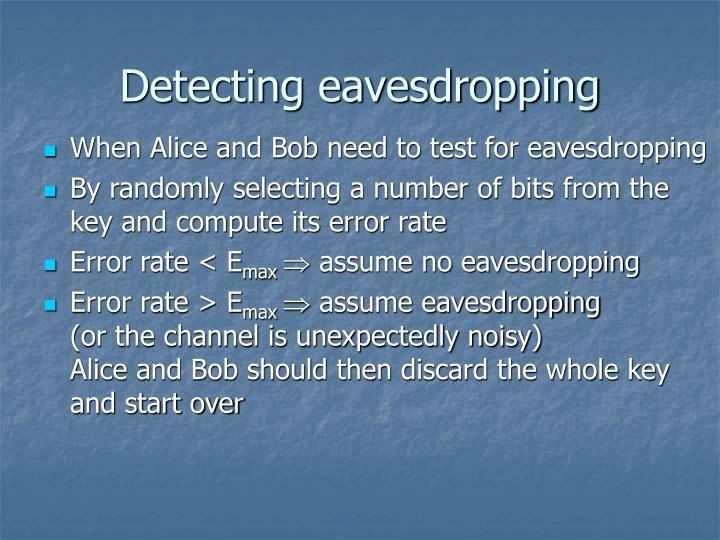 Detecting eavesdropping