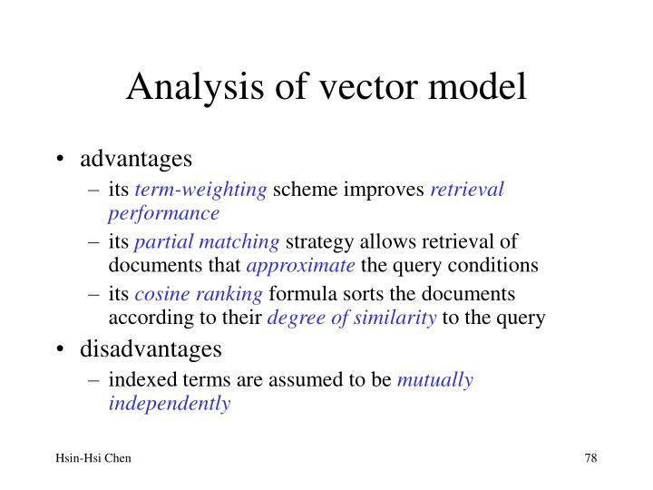 Analysis of vector model