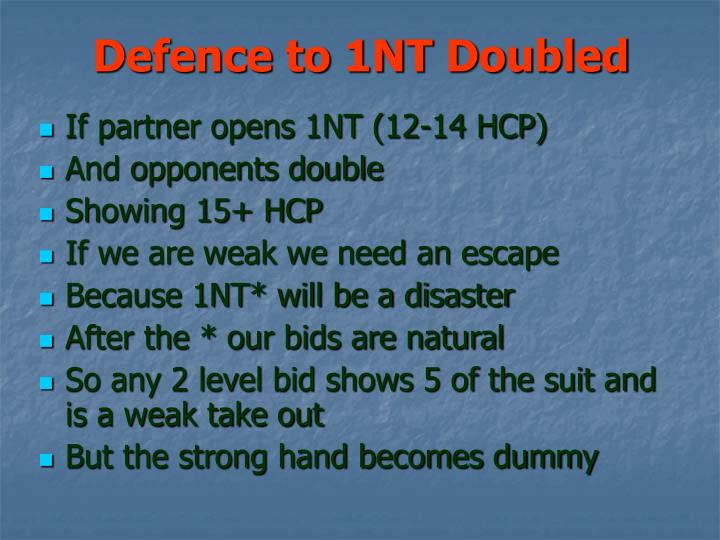 Defence to 1nt doubled