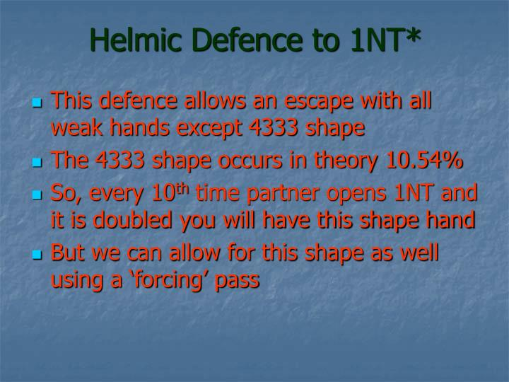 Helmic Defence to 1NT*