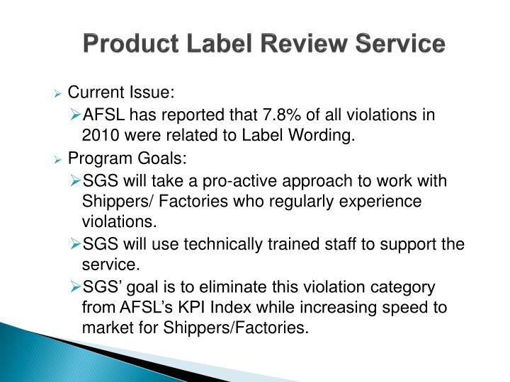 Product Label Review Service