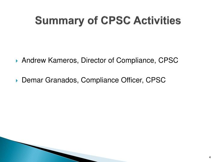 Summary of CPSC Activities