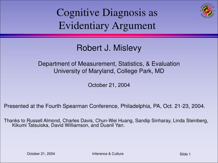 cognitive diagnosis as evidentiary argument n.