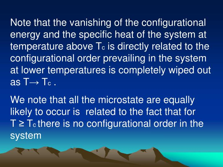 Note that the vanishing of the configurational energy and the specific heat of the system at temperature above T