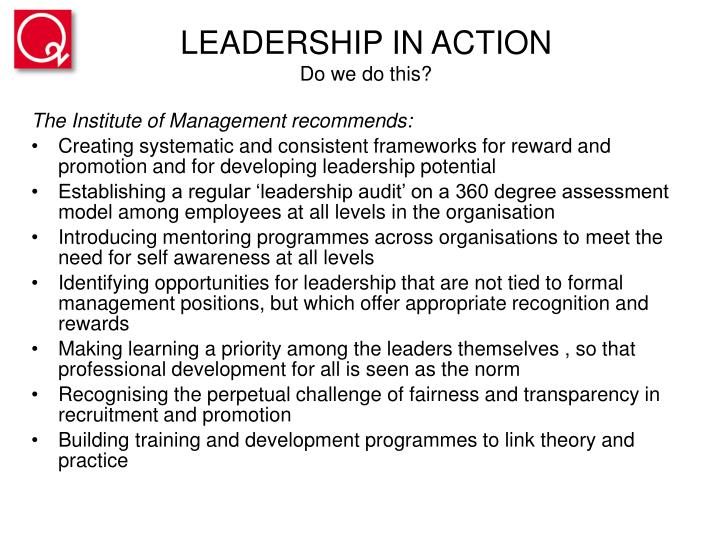 Leadership in action do we do this