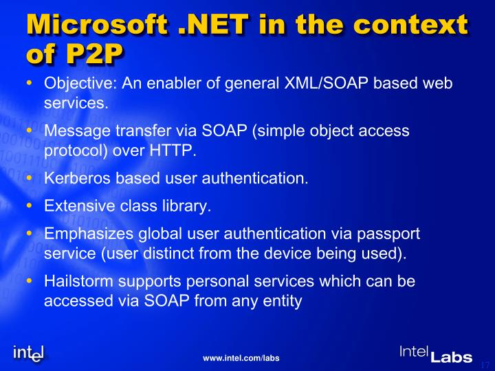 Microsoft .NET in the context of P2P