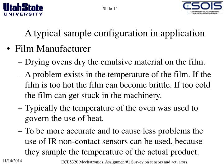 A typical sample configuration in application