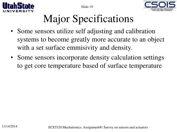 Major Specifications