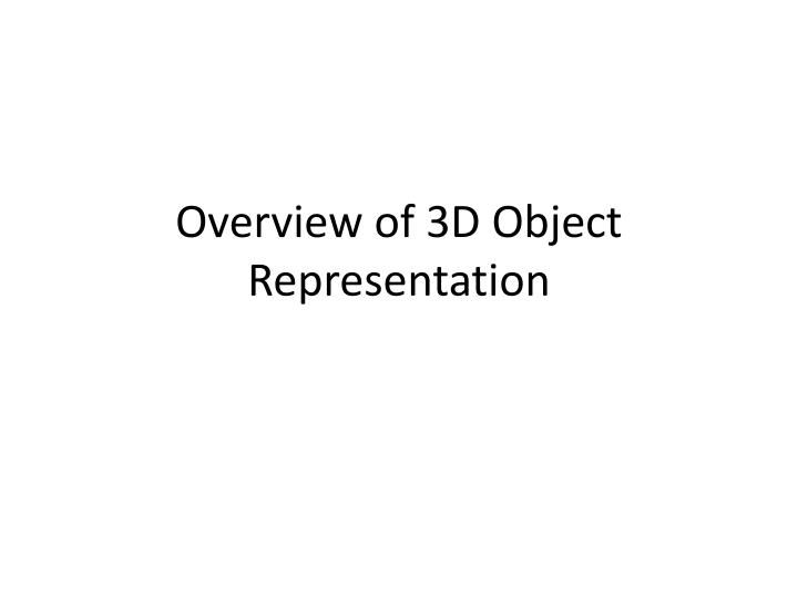 Overview of 3d object representation
