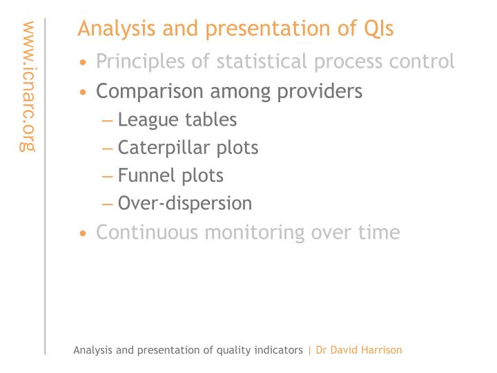 Analysis and presentation of QIs