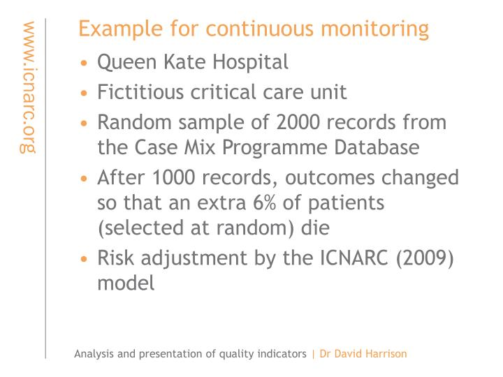 Example for continuous monitoring