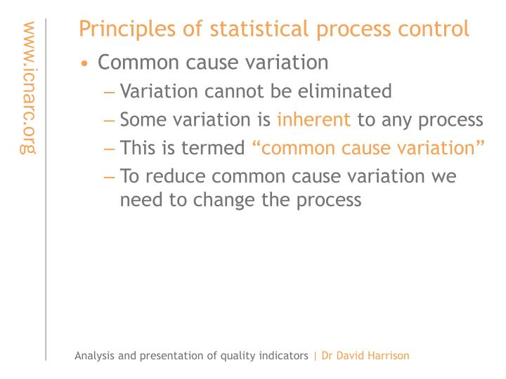 Principles of statistical process control