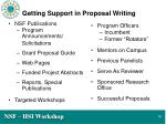 getting support in proposal writing
