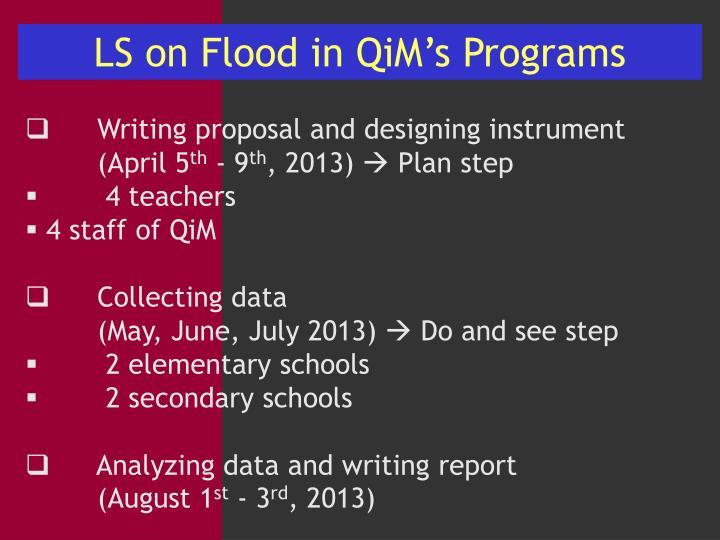 LS on Flood in QiM's Programs