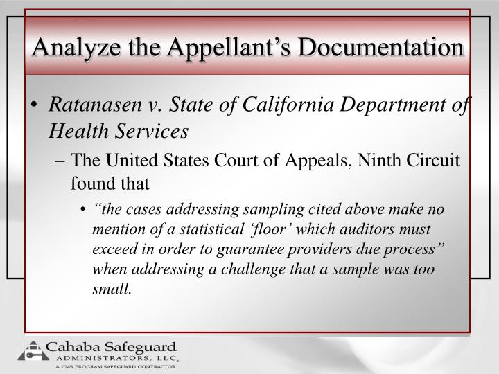 Analyze the Appellant's Documentation