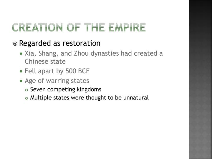 Creation of the empire