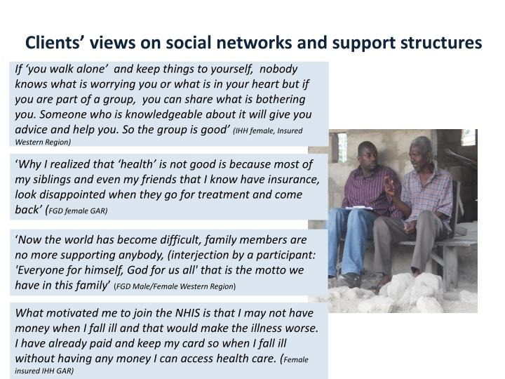 Clients' views on social networks and support structures