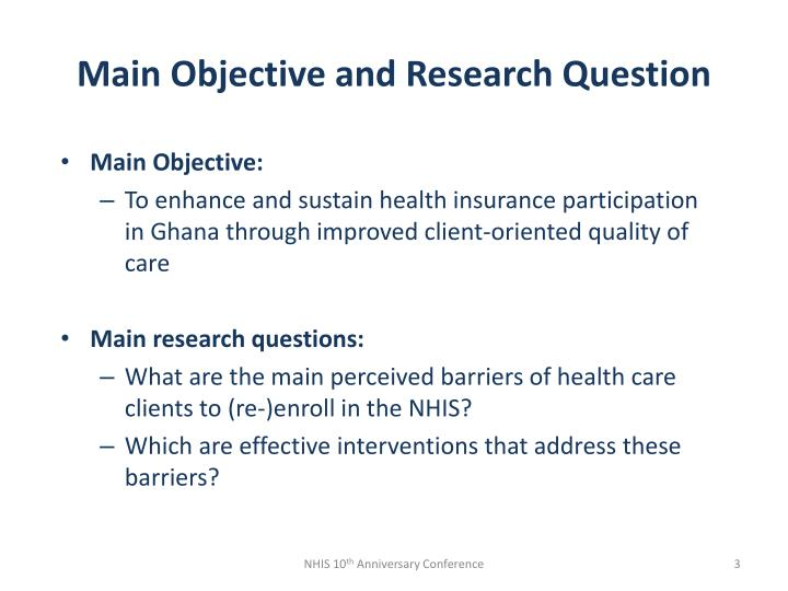 Main objective and research question