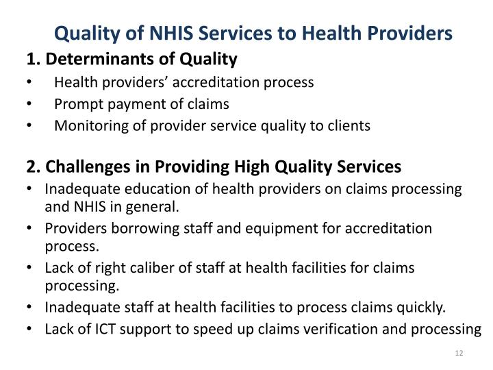 Quality of NHIS Services to Health Providers