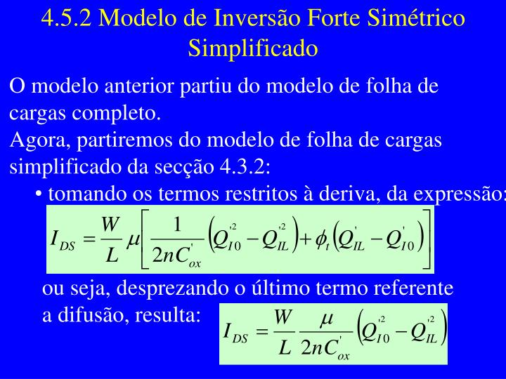 4.5.2 Modelo de Inversão Forte Simétrico Simplificado