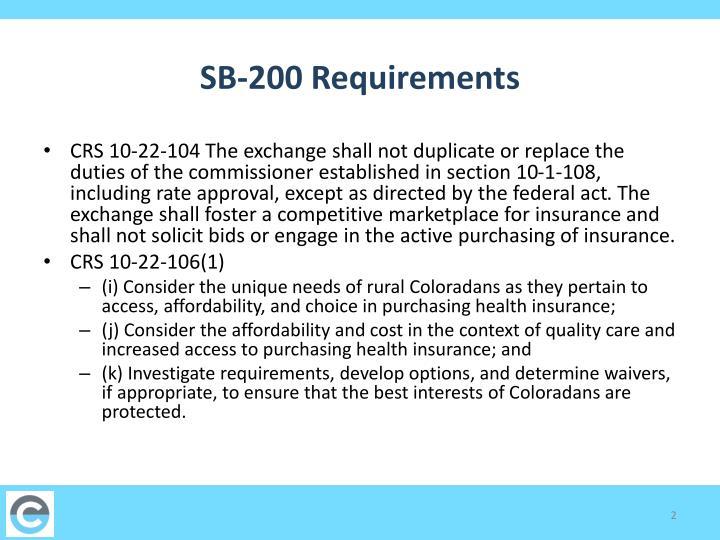 Sb 200 requirements