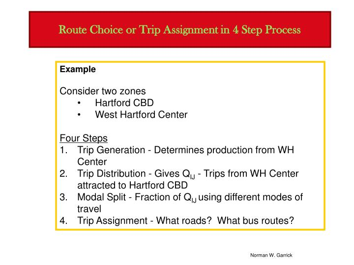 Route choice or trip assignment in 4 step process