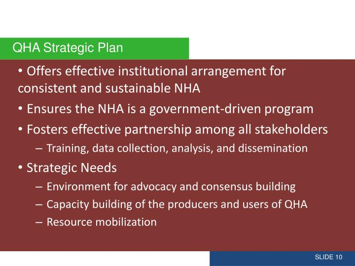 Offers effective institutional arrangement for consistent and sustainable NHA