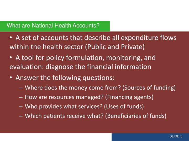 A set of accounts that describe all expenditure flows within the health sector (Public and Private)
