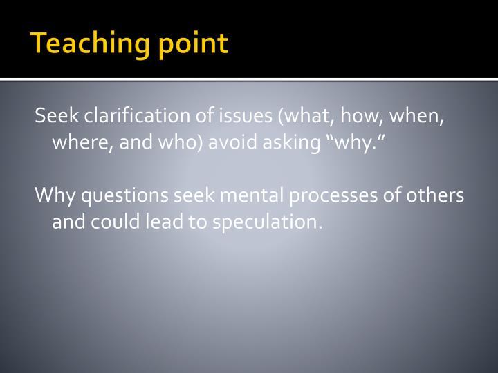 Teaching point